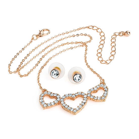 Rose gold colour crystal three heart design necklace and studs