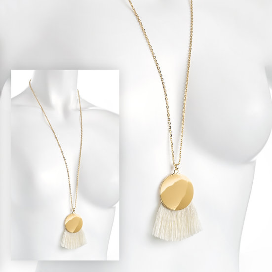 En vie Jewellery Gold colour chain disc and cream tassel necklace