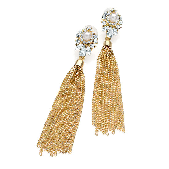 En vie Jewellery Shiny gold colour crystal cream pearl colour chain tassel earring