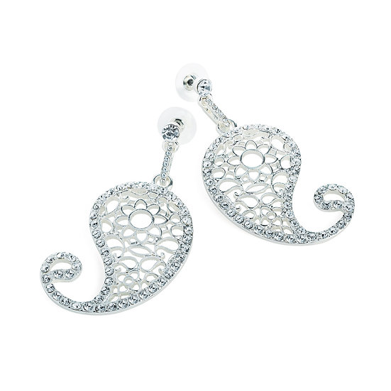 En vie Jewellery Silver colour paisley design earring