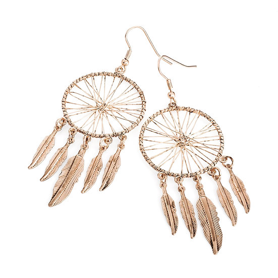 En vie jewellery Light antique rose gold colour dream catcher charm drop earring