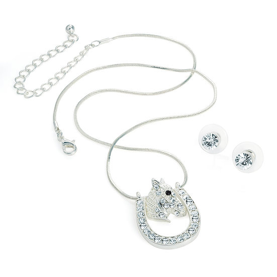En vie Jewellery Silver colour horse shoe design chain necklace and earring set