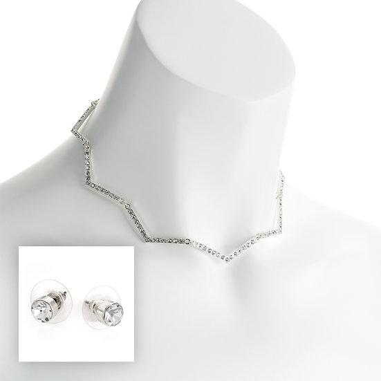 Silver colour crystal zig zag design necklace set