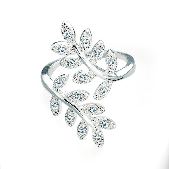 En-Vie™ jewellery Stunning silver colour Fashion Ring, with a classy leaf detail