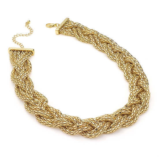 Gold plaitted chain necklace
