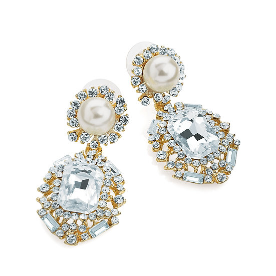 Gold and cream pearl colour post drop earring