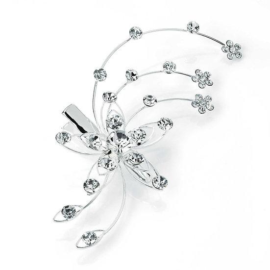 Silver crystal hair clip
