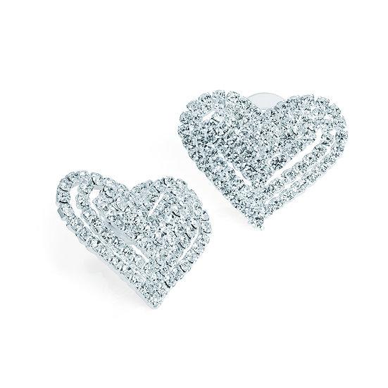 En vie Jewellery Silver colour crystal heart design earring