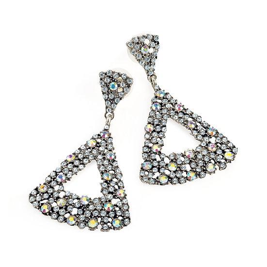 En vie Jewellery Burnished silver crystal and AB crystal triangle design drop earring