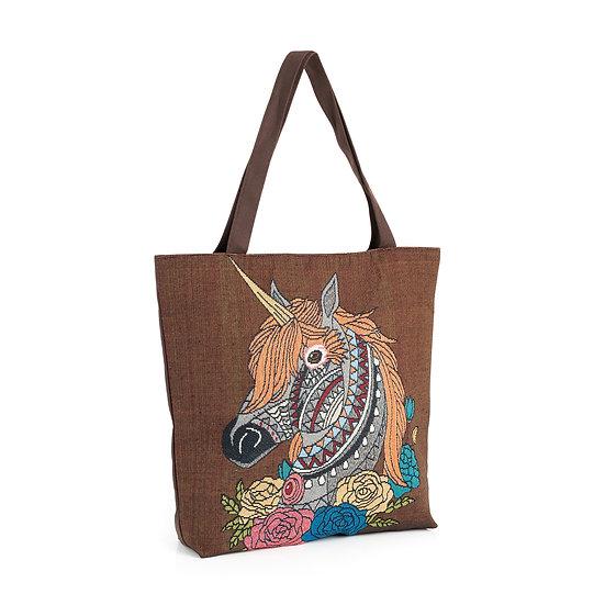 En vie Jewellery Brown tone unicorn design bag