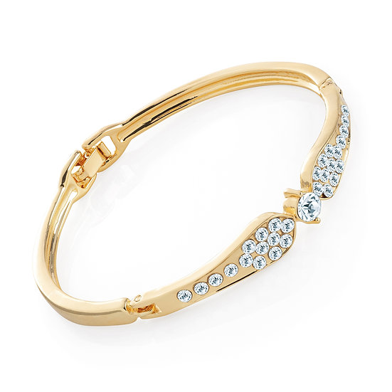 En vie Jewellery Gold colour crystal hinge bangle