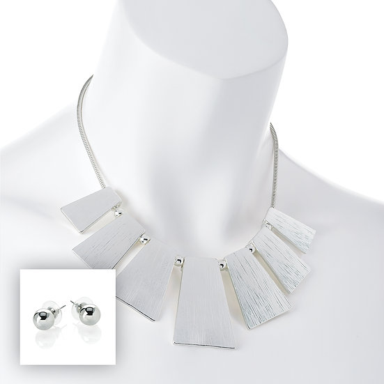 Silver colour chain necklace with ball earrings