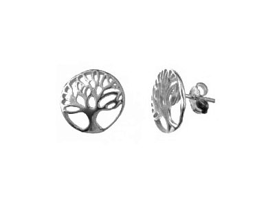 En-Vie™ jewellery Silver round Tree Of Life Stud Earrings, 13mm. Approx. weight 1.36 GMS.