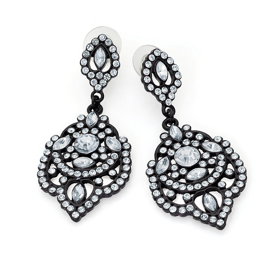 Black enamel crystal drop earrings