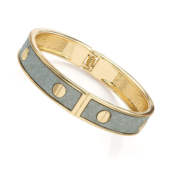 Gold colour silver glitter effect round hinge bangle