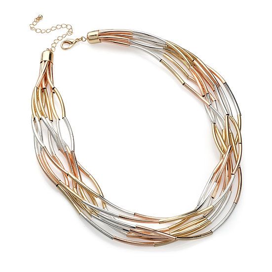 Eight row shiny gold, rose gold & silver chain necklace