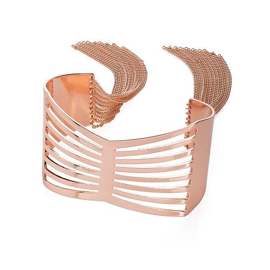 En vie Jewellery Rose gold colour chain tassel cuff bangle