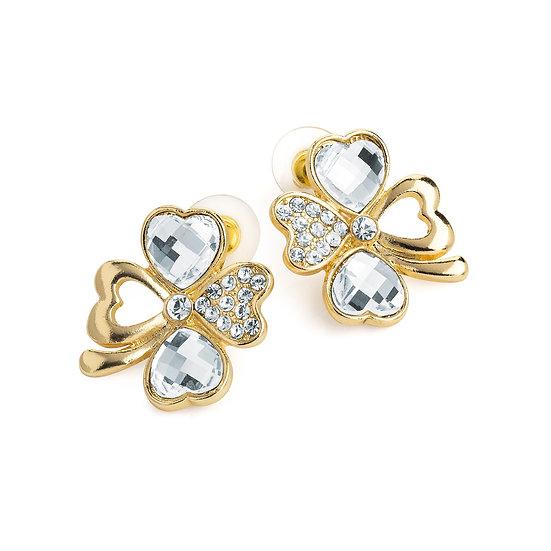 En vie jewellery gold colour crystal four leaf clover effect stud earring