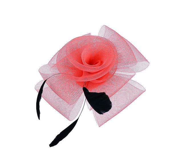 En-Vie™ jewellery This lovely Coral and feather headpiece features a simple flower with black feather decoration and 6cm clip
