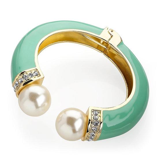 Shiny gold colour crystal cream pearl effect bead mint enamel colour bangle