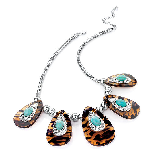 Rhodium turquoise and tortoise shell bead necklace