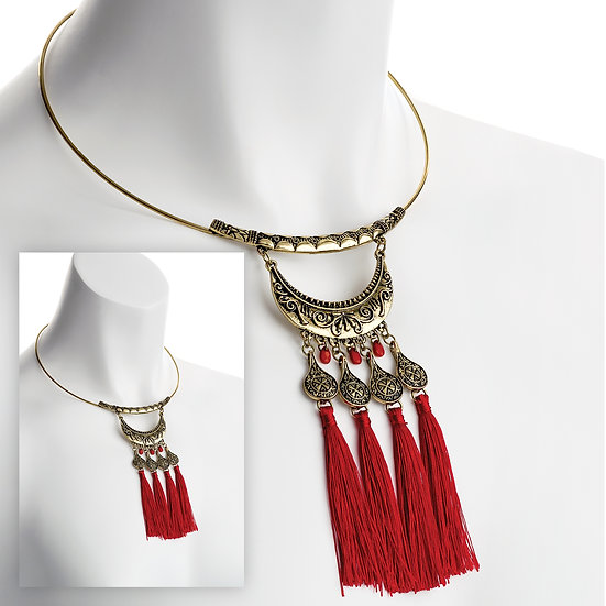 Stunning Masai red tassel necklace