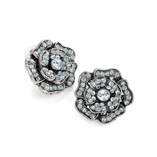 Antique silver crystal flower design earring
