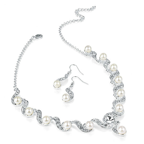 Silver and white Pearl crystal necklace and earrings