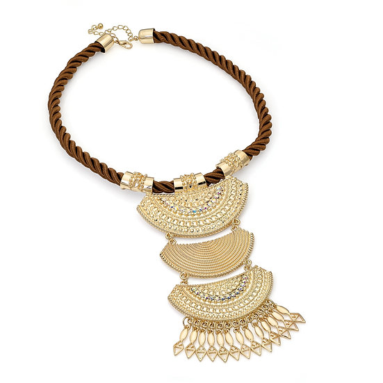 En vie Jewellery Gold colour AB crystal brown cord tribal look necklace