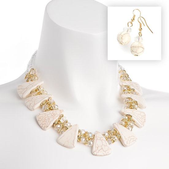Gold and white marble colour AB glass bead choker necklace and earring set