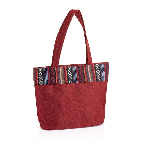 En vie jewellery Red tone tribal print bag