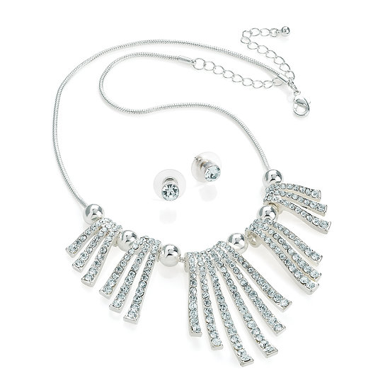 En vie Jewellery Silver colour crystal spray design chain necklace and stud earring set