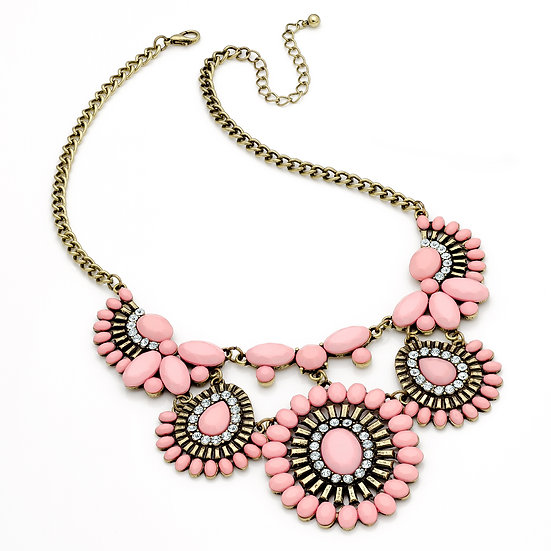 Burnished gold crystal and pink chain statement necklace