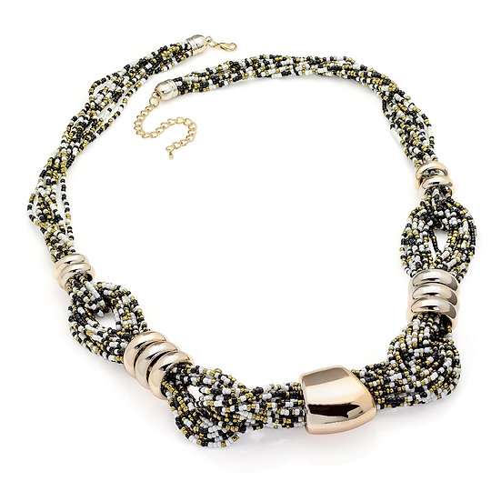 Gold colour black and white bead necklace