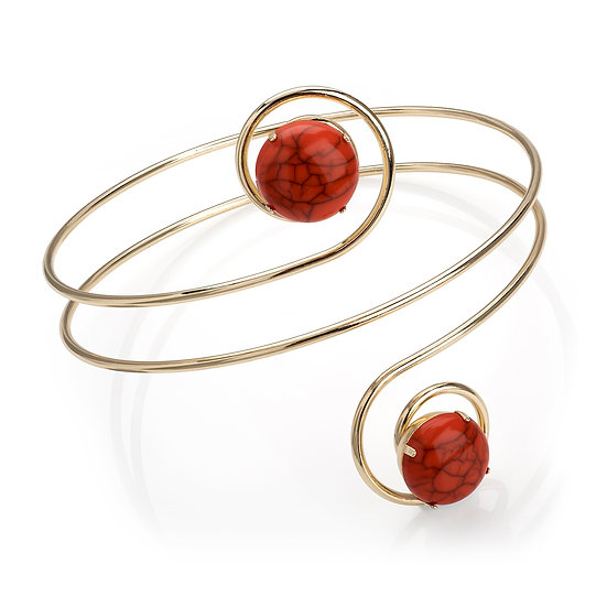 Gold colour coral marble effect arm bangle