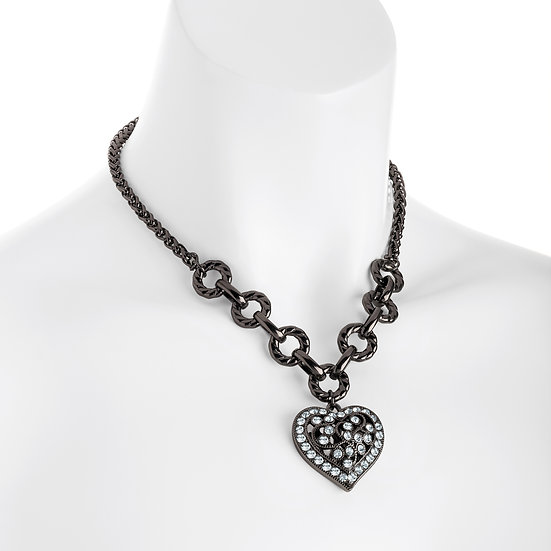 En-Vie™ Jewellery Stunning hematite chain necklace, detailed by a crystal heart, a striking and bold piece of jewellery