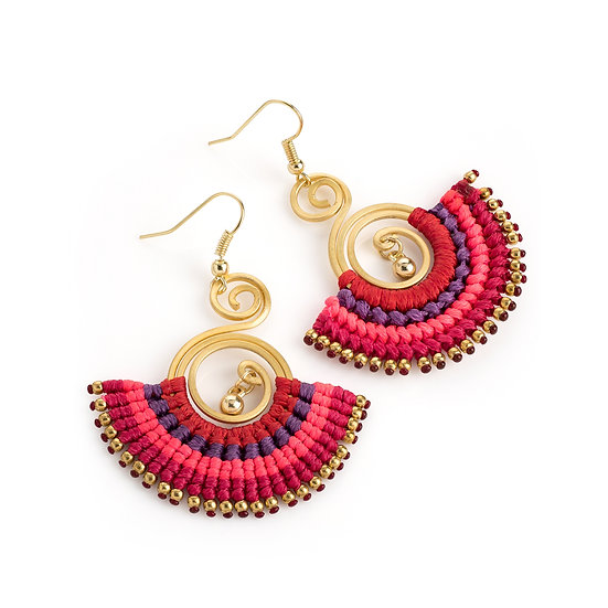 En vie jewellery antique gold multi colour thread tribal earring