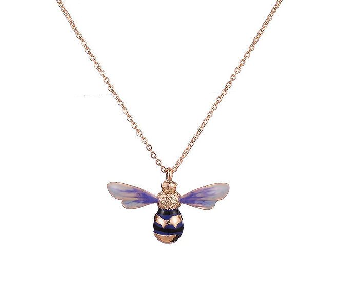 En-Vie™ jewellery Longline Bee necklace, delicately engraved, hand painted with coloured enamels. 18CT gold plated bee, on a