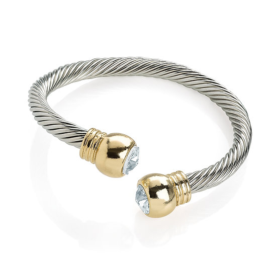 Two tone rhodium effect crystal twist bangle