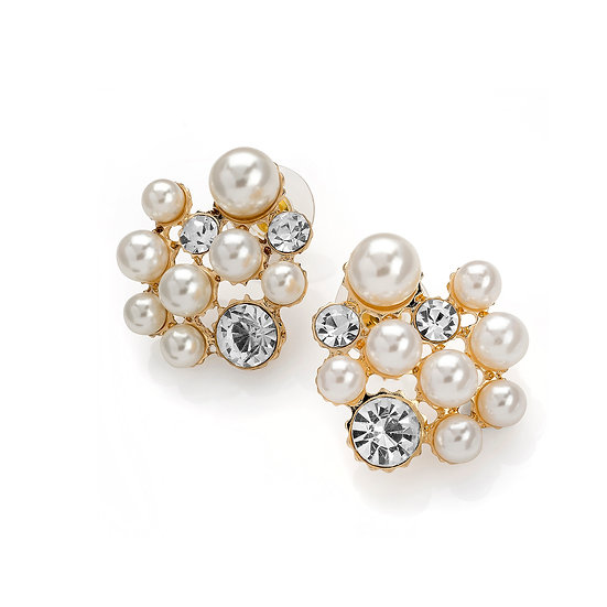 Gold and cream pearl colour crystal earring