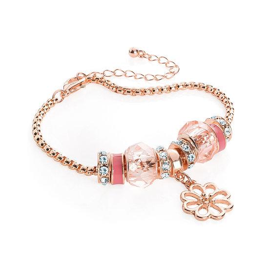 En vie Jewellery Rose gold colour pink tone flower design charm bracelet
