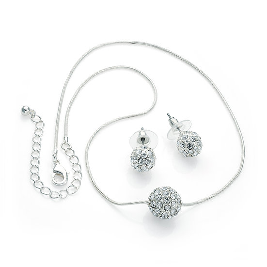 Silver crystal double ball chain necklace and earrings