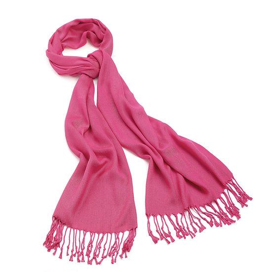 En vie Jewellery Light fuchsia pink colour pashmina style tassel scarf
