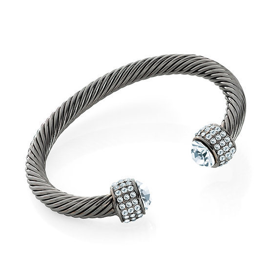 En vie Jewellery Hematite colour crystal twist effect adjustable cuff bangle