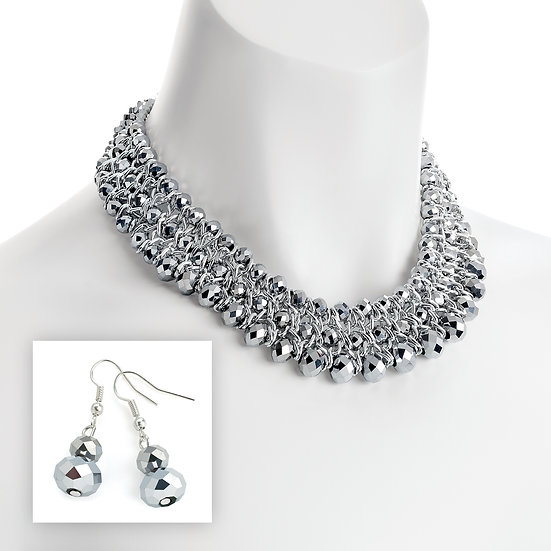 Silver colour and silver crystal glass bead effect necklace and earring set