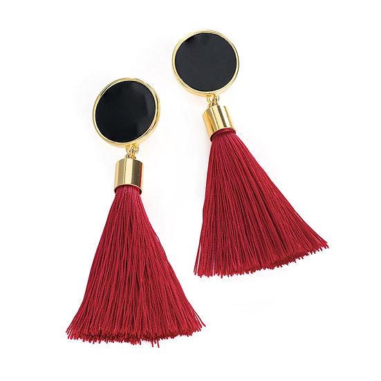 En vie Jewellery Black and burgundy colour tassel earring