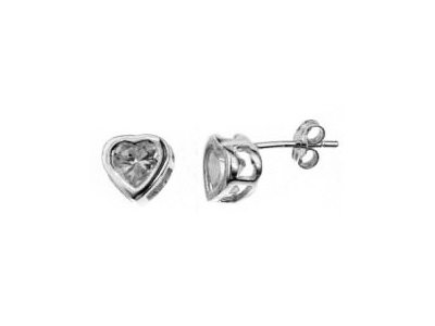 En-Vie™ jewellery Silver Heart Shaped Cubic Zirconia Earrings, 6mm. Width 7.6mm, Matching pendant available
