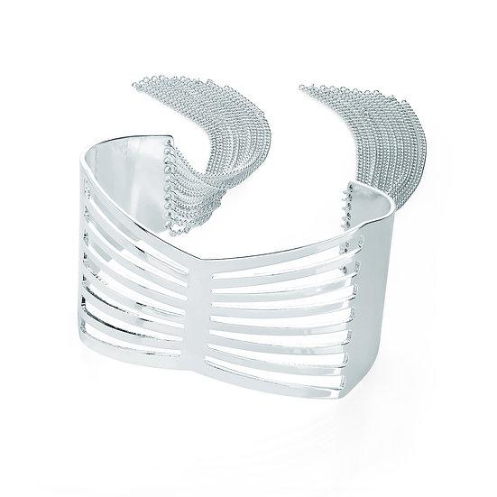 En vie Jewellery Silver colour chain tassel cuff bangle