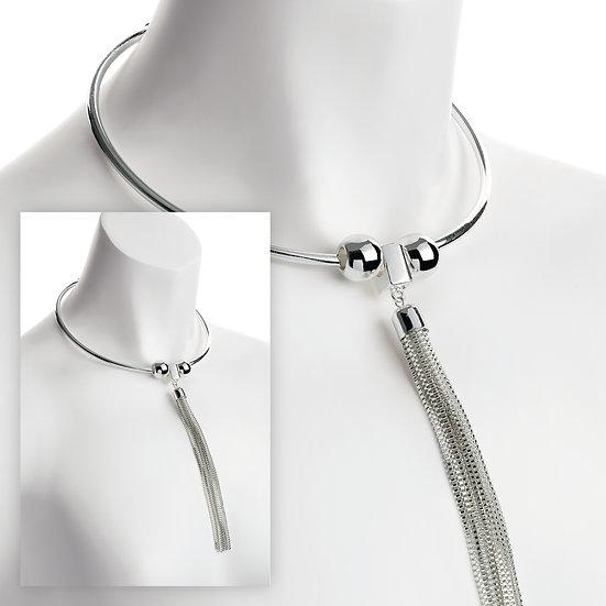 Silver colour collar chain tassel necklace