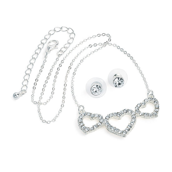 Silver colour crystal three heart design necklace with studs